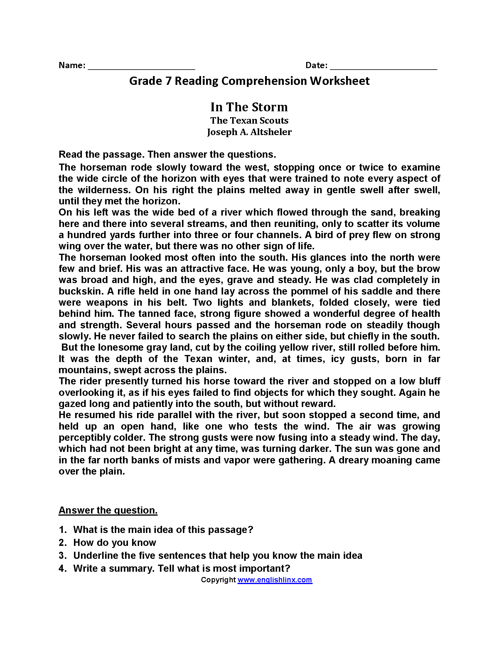 Worksheet Free 6th Grade Reading Comprehension