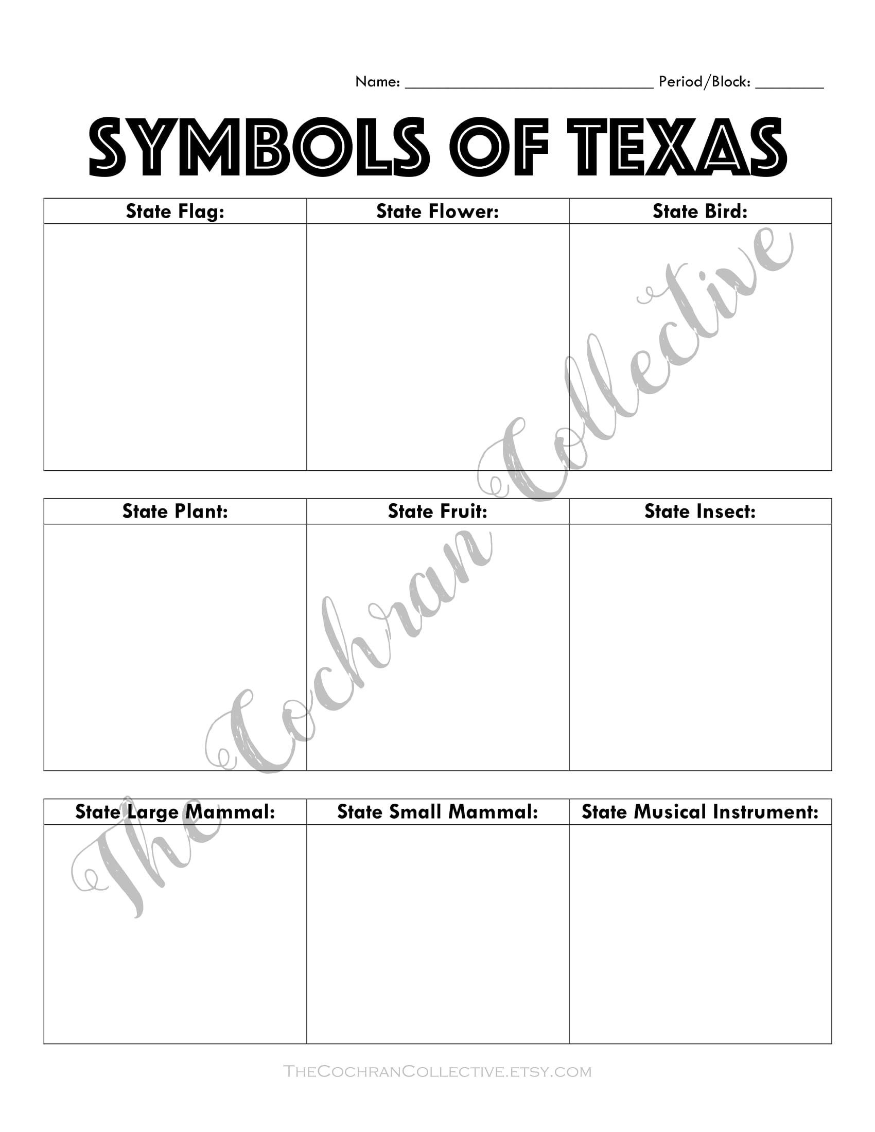 Texas History Worksheets Printable