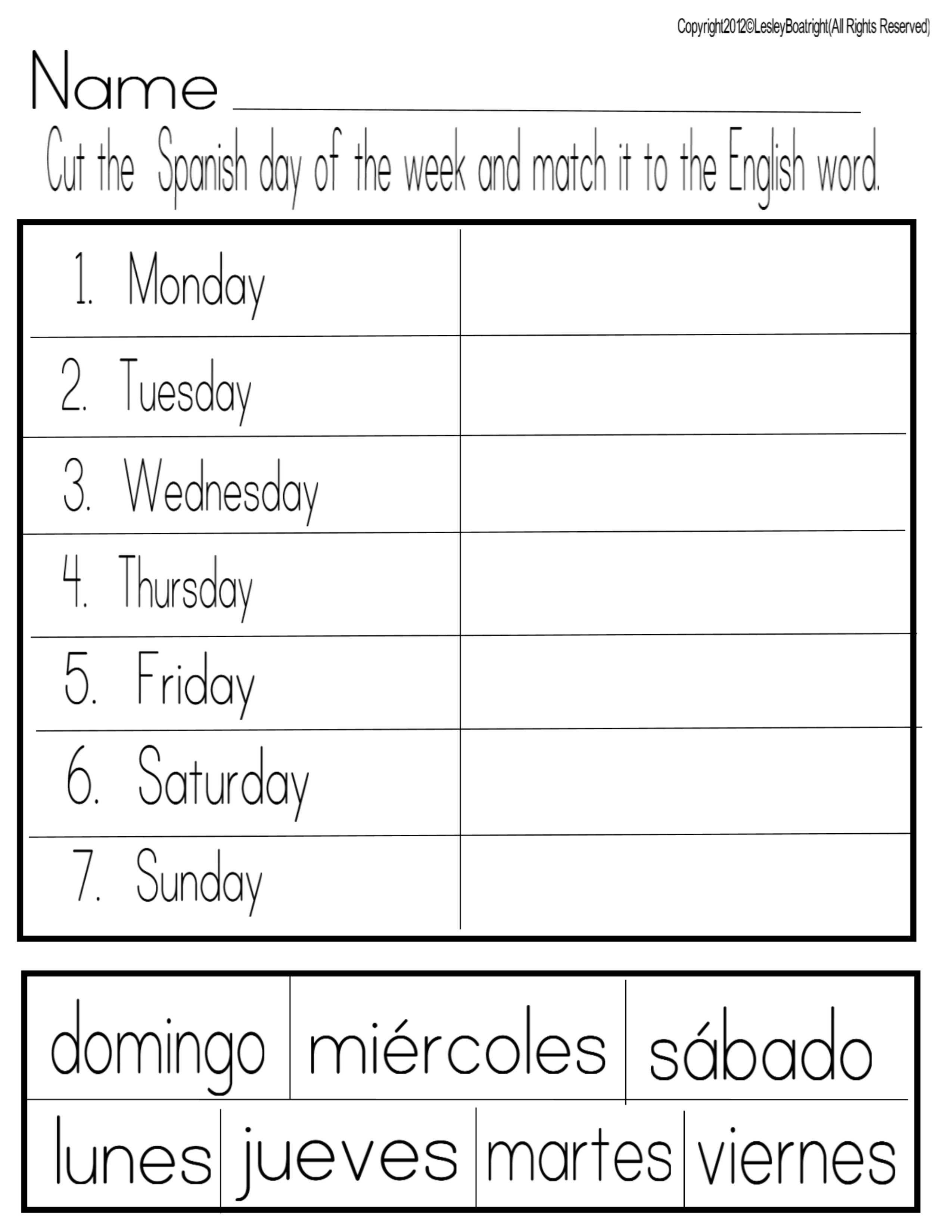 Free Printable Spanish Worksheets Days Of The Week