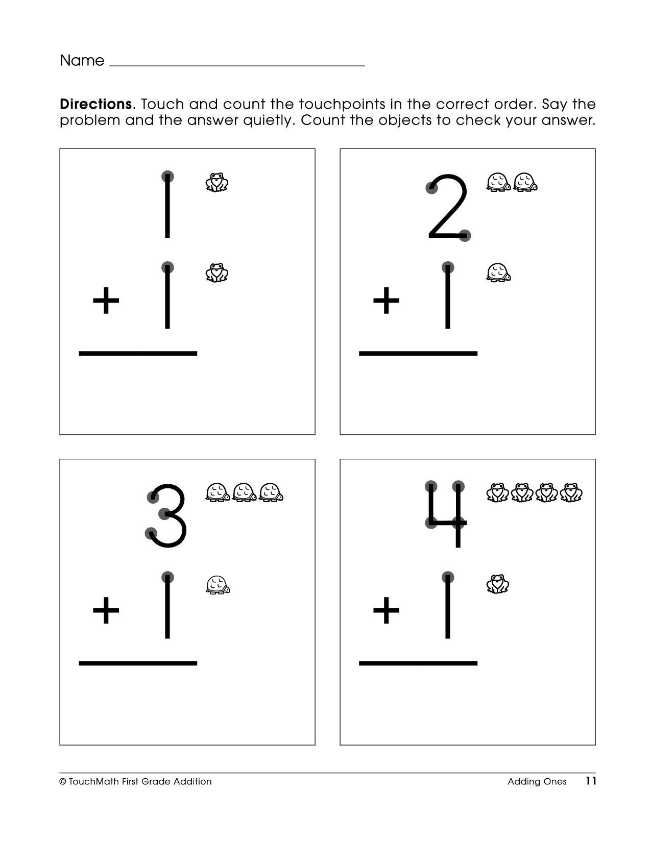 Touch Math Printable Worksheets
