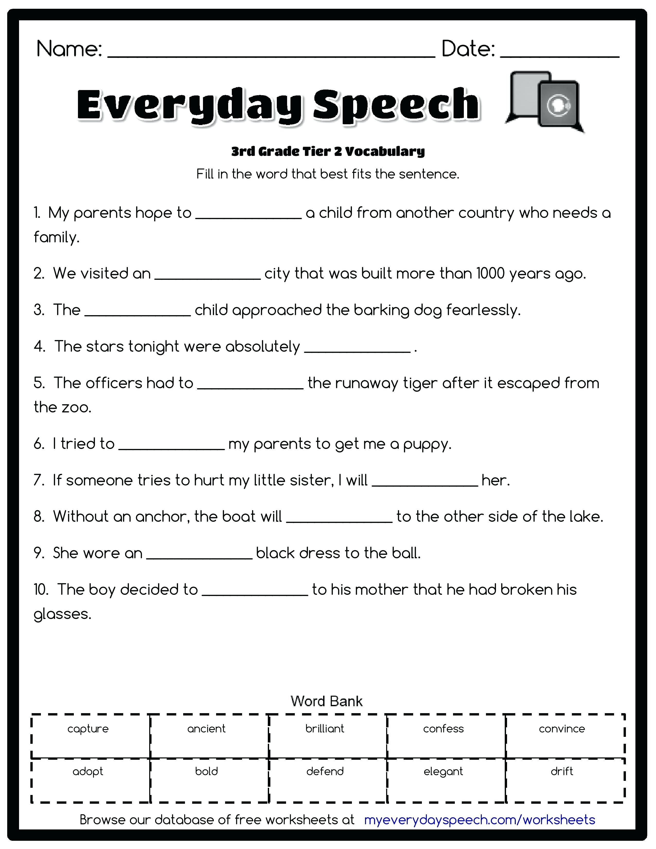 Free Printable Vocabulary Worksheets For 3rd Grade