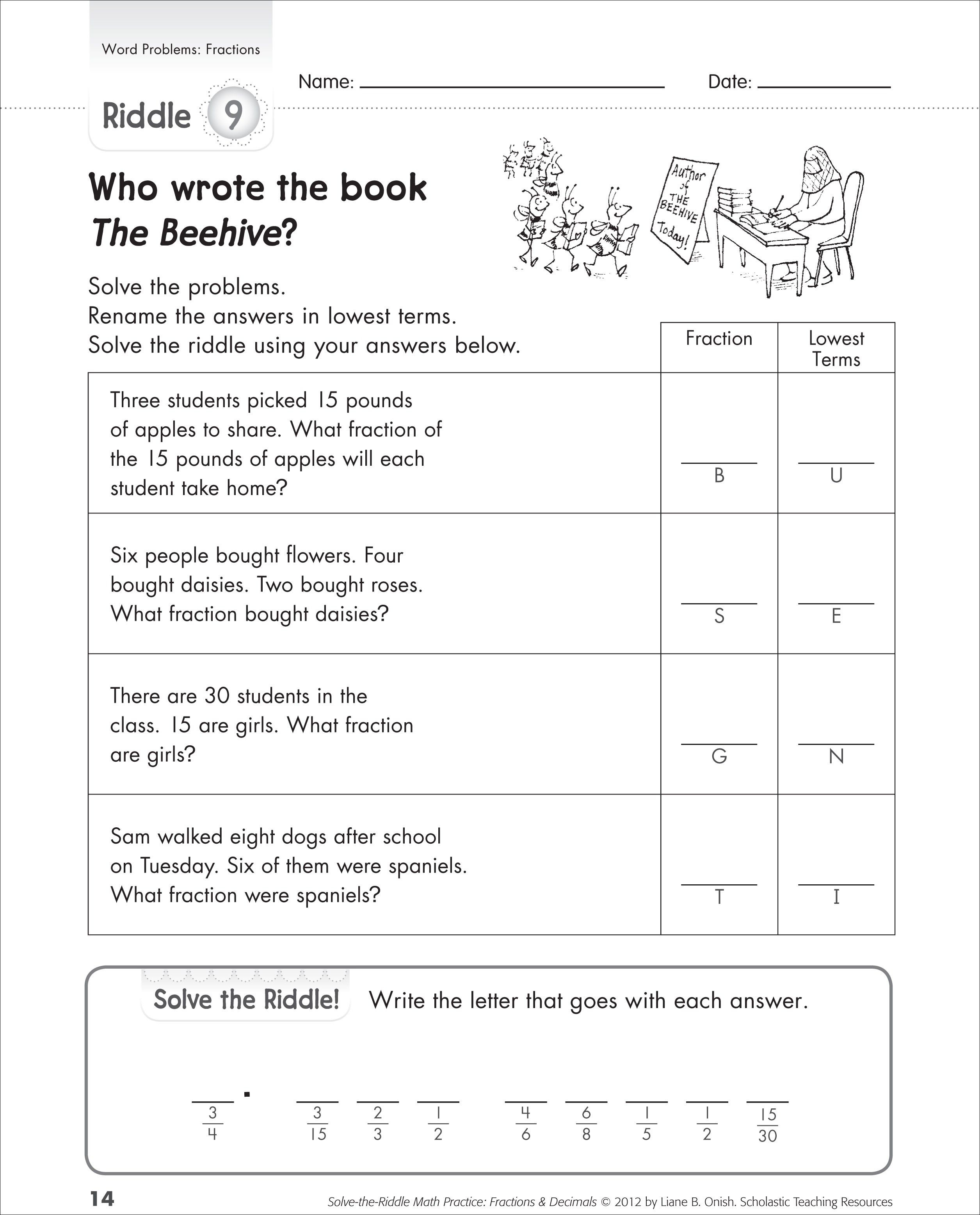Free Printable Fraction Word Problem Worksheets