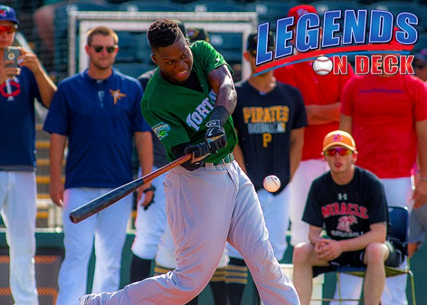 Artisides Aquino in the HR Derby (Photo Courtesy of Gabe Rodriguez)