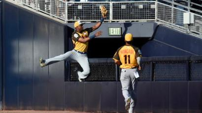 Jimenez makes a leaping Futures Game catch (photo LG Patterson/Getty Images)