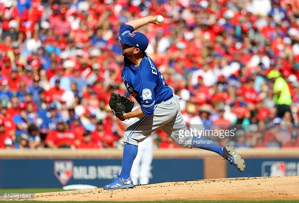 in game one of the American League Divison Series at Globe Life Park in Arlington on October 6, 2016 in Arlington, Texas. (Photo by Scott Halleran/Getty Images