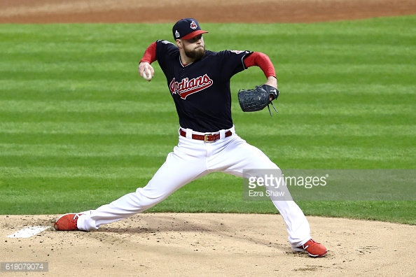 CLEVELAND, OH - OCTOBER 25: Corey Kluber #28 of the Cleveland Indians throws a pitch against the Chicago Cubs during the first inning in Game One of the 2016 World Series at Progressive Field on October 25, 2016 in Cleveland, Ohio. (Photo by Ezra Shaw/Getty Images)