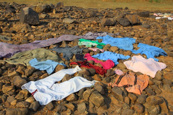 laundry on rocks