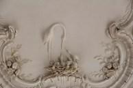 Rundāle Palace, White Hal, stork on ceiling
