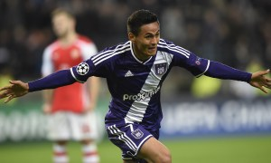 Anderlecht's midfielder from Honduras Andy Najar celebrates after scoring during a UEFA Champions League group stage football match Anderlecht vs Arsenal at the Constant Vanden Stock stadium in Anderlecht on October 22, 2014.  AFP PHOTO / JOHN THYS        (Photo credit should read JOHN THYS/AFP/Getty Images)