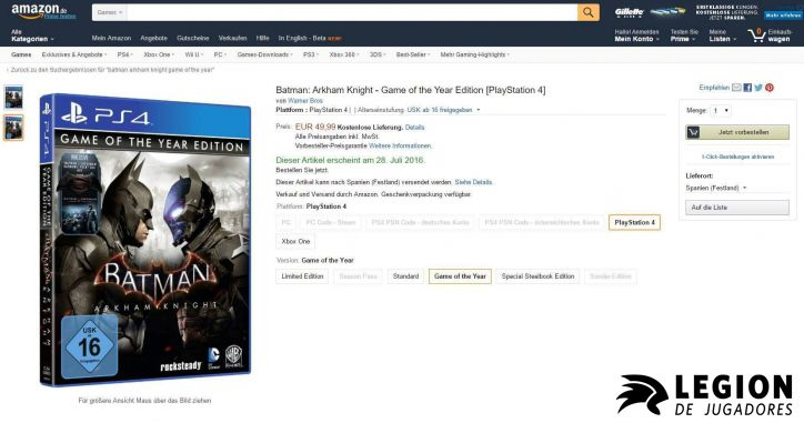 batman arkham game of the year edition PS4