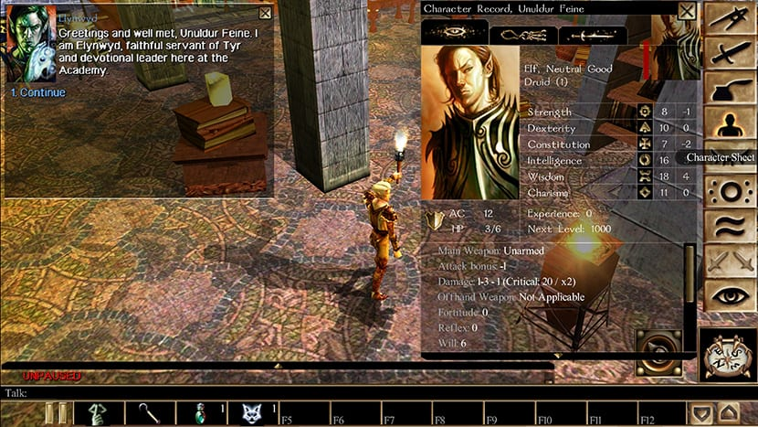 Neverwinter Nights es uno claro ejemplo de las fuentes en que se inspiran los RPG Occidentales