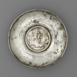 Offering bowl with a medallion of Mercury in a rural shrine, Roman, AD 175–225. Silver and gold. Bibliothèque nationale de France, Département des monnaies, médailles et antiques, Paris