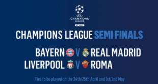 #UCLDraw Liverpool To War Against Roma in Champions League Semi-finals