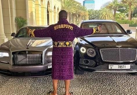 Hushpuppi Stoned For Renting Rolls Royce & Bentley To Show Off