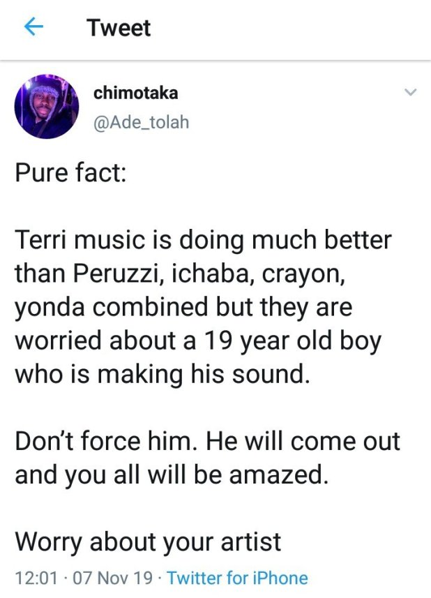 Starboy Terri is Doing Better Than DMW's Peruzzi – Twitter fan