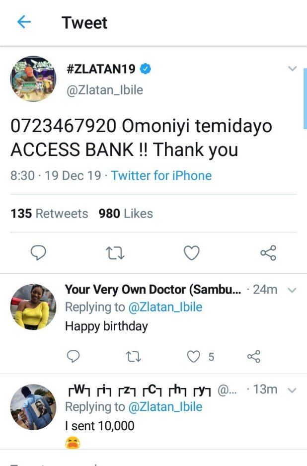 Zlatan Drops His Bank Details, Begs Fans For Birthday Presents (See Reactions)