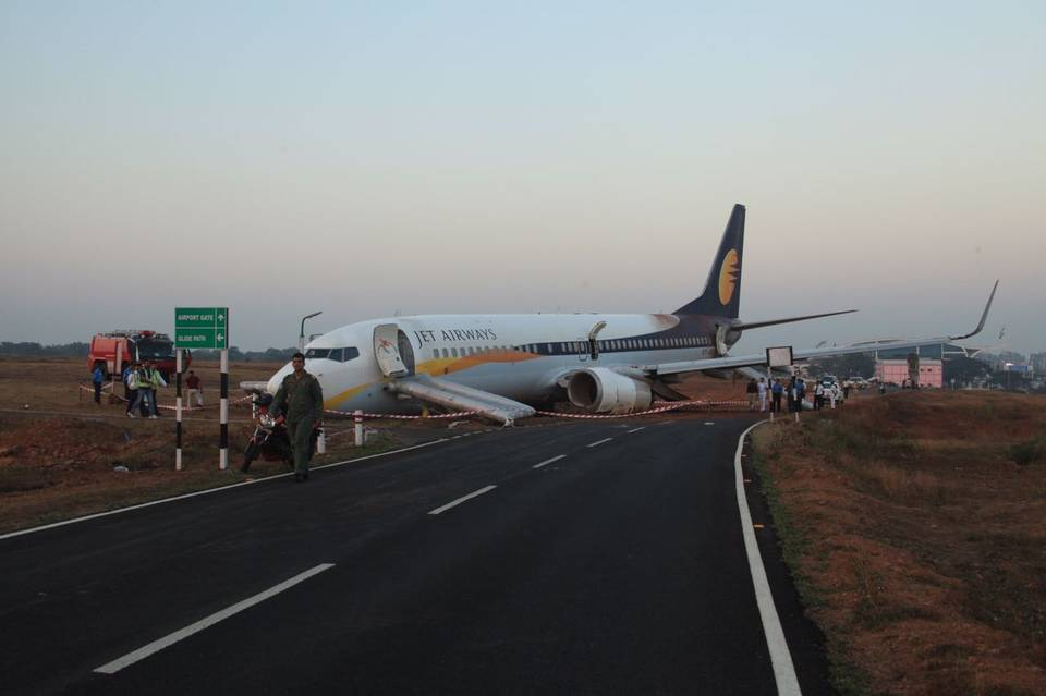 Jet Airways flight veers off runway