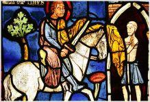 Saint-Martin à cheval coupant en deux son manteau
