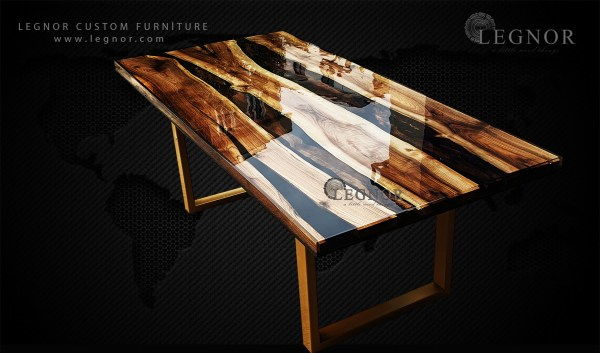 Black Clear resin trible walnut slab table