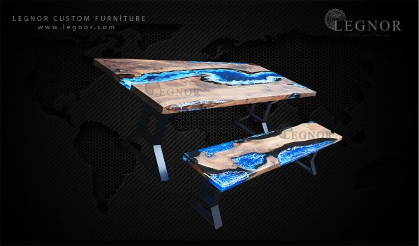 Art blue resin walnut table set