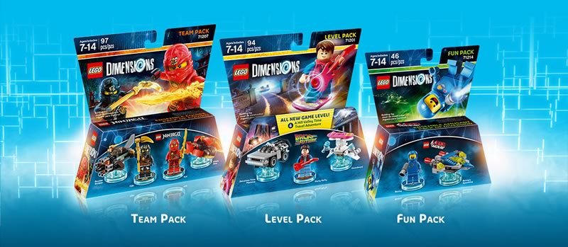 lego dimensions - tipos de packs