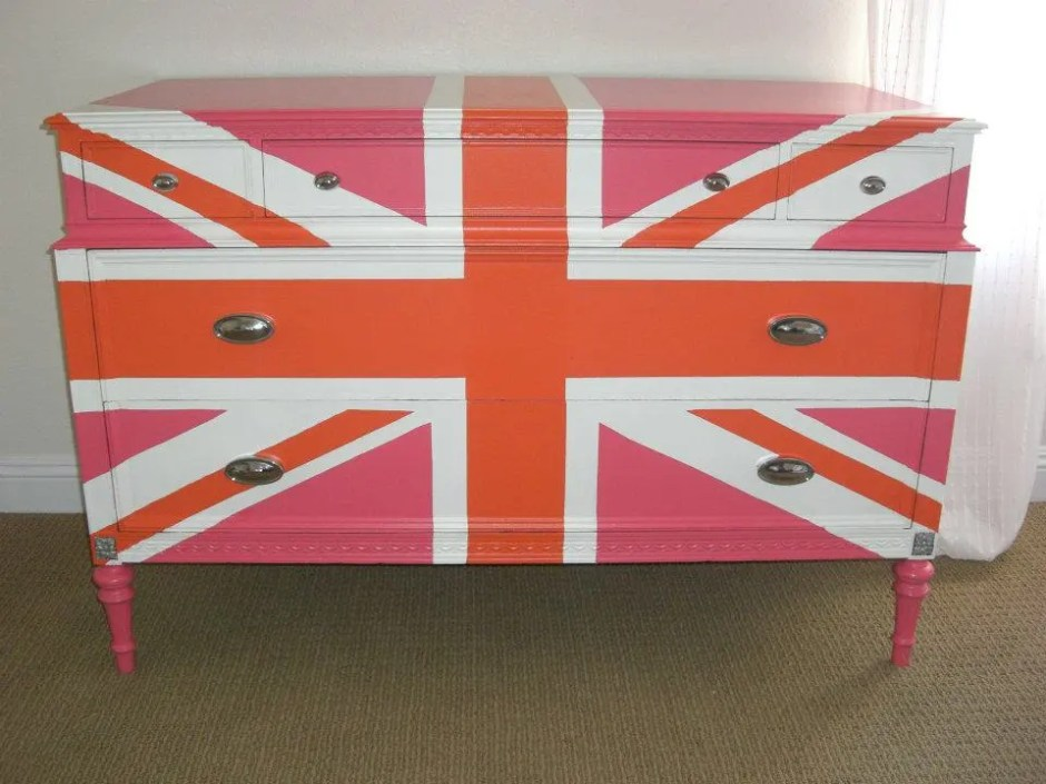 pink painted union jack dresser