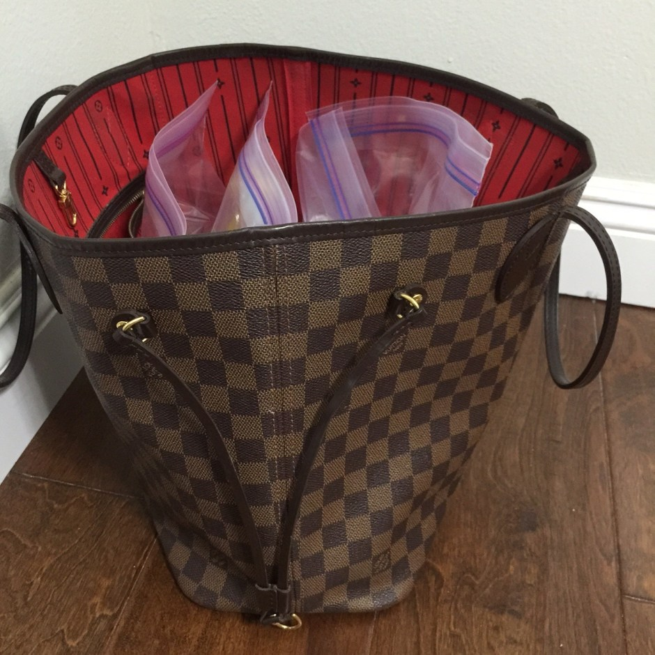 Louis Vuitton Neverfull for flying
