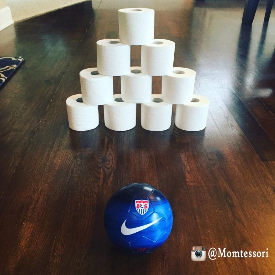 montessori toilet paper bowling