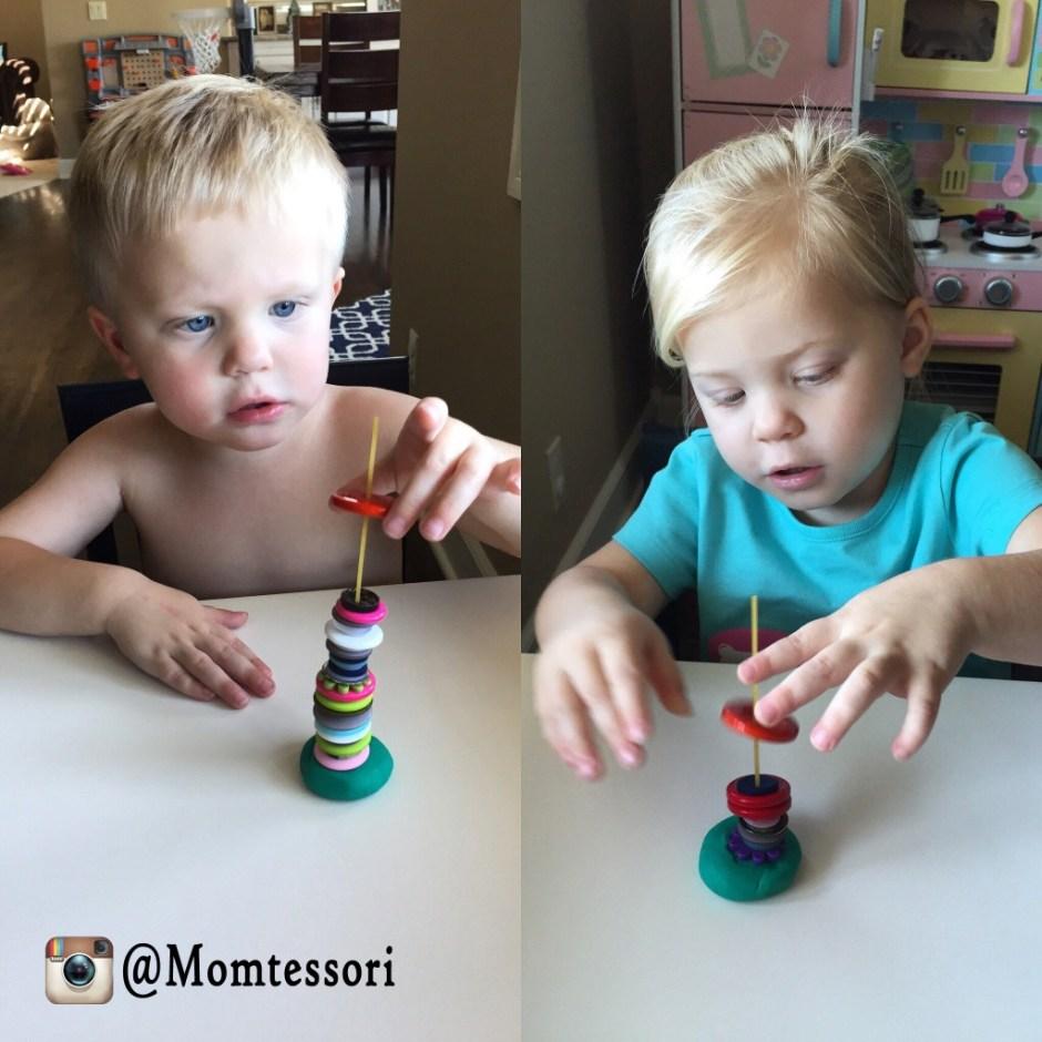montessori button stacking