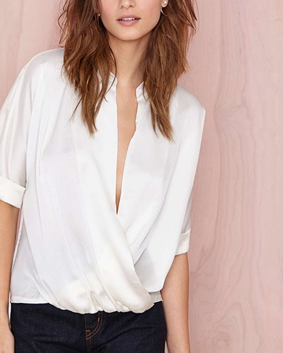 white silk drape wrap blouse