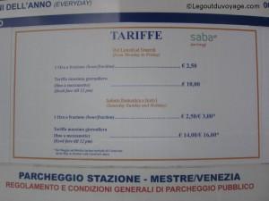 Tarifs parking Venise pas cher