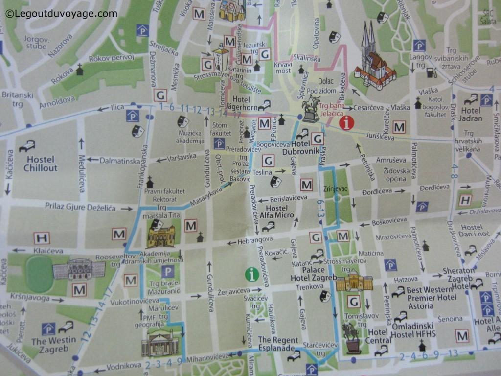 Une Fois Munis De Votre Plan La Ville Vous Remarquerez Que Celui Ci Met En Avant Deux Itinraires Pour Visiter Zagreb