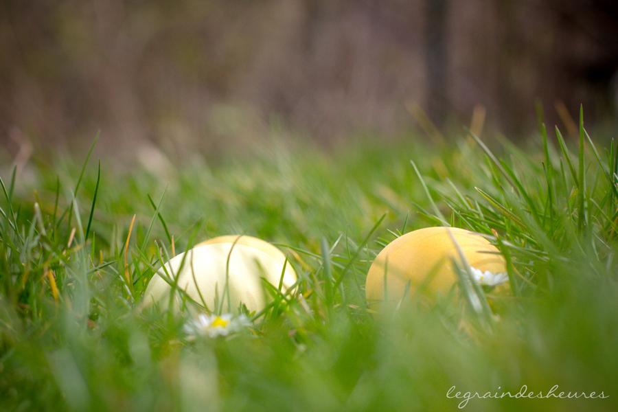 oeufs de Pâques colorés dans l'herbe