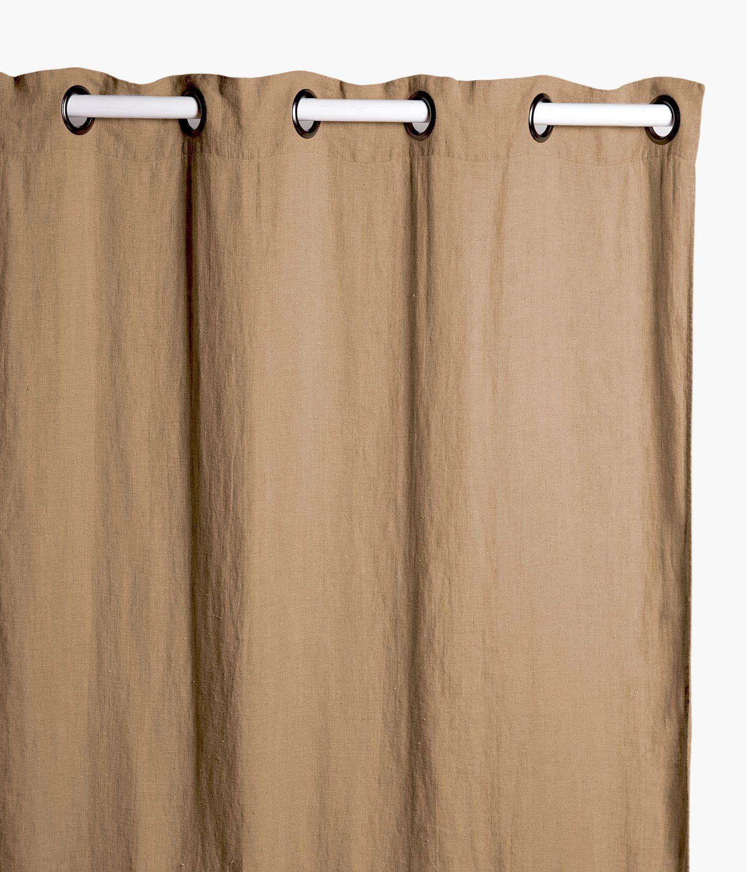 rideaux 140 x 280 cm en lin lave camel