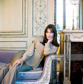 First lady of France Carla Bruni Sarkozy poses for Vogue Magazine at the at Elysee Palace on January 7, 2009 in Paris, France.