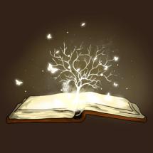logo le grimoire aux histoires, plaeforme d'histoire audio pour enfants