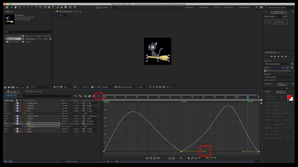 l'icône graphique et la poignée Bézier pour régler la vitesse d'animation des clés