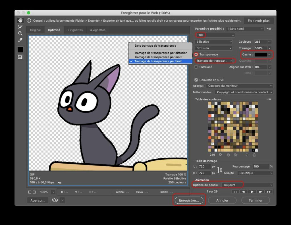 Créer un sticker pack : Enregistrer en Gif pour le web paramètres de photoshop