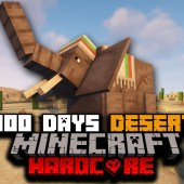 I Survived 100 Days of Hardcore Minecraft In A Modded Desert Only World…