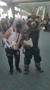 """This Rocket Raccoon cosplay came complete with a """"dancing"""" baby Groot. So cool!"""