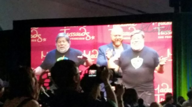 Steve Wozniak poses next to his wax figure at the kick off panel.