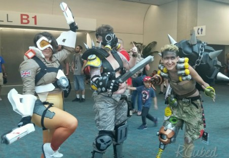 Awesome renditions of Tracer, Roadhog, and Junkrat from Overwatch.