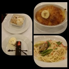 Seafood spaghetti and creme brulee were part of my dinner. The Chocolate Sensation and Peach Crumble were my parents' and brother's desserts.