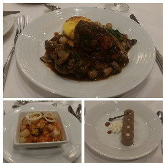 Coq au vin, seafood risotto, and chocolate hazelnut truffle tart.