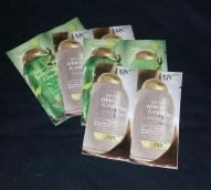 Shampoo and conditioner samples from ogx