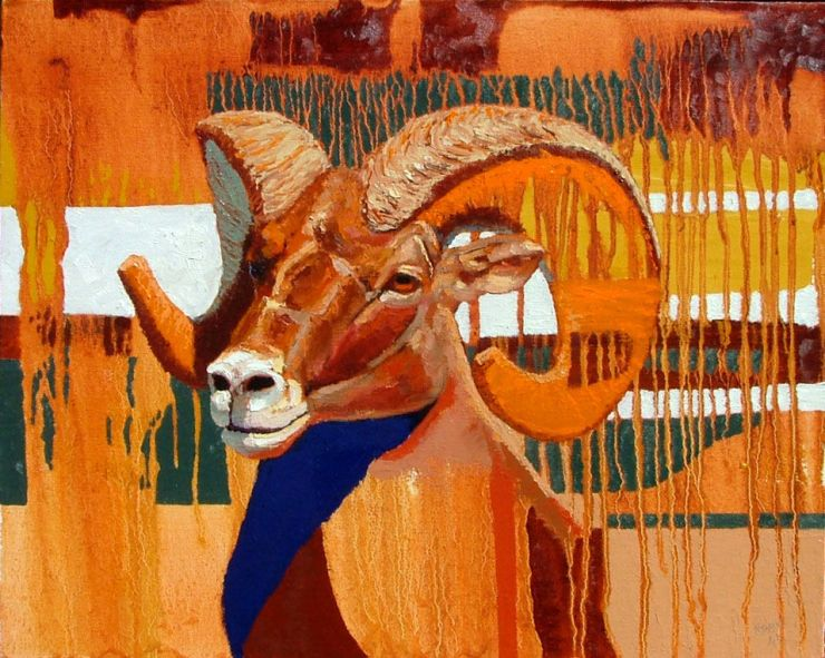 Ron Russon: Orange Horn Sheep—16x20 oil on gallery wrapped  canvas—SOLD