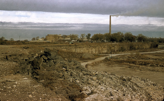 Looking northwest towards the Lehigh Portland Cement Company, across the quarry.