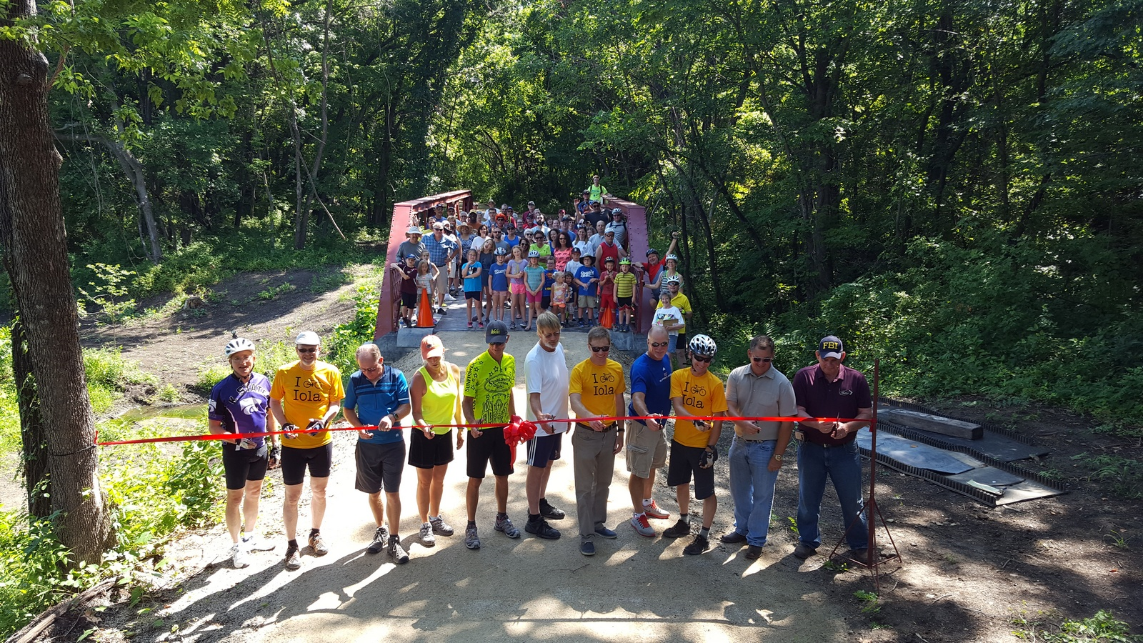 Ribbon cutting ceremony at the Sinclair-Hegwald Bridge.