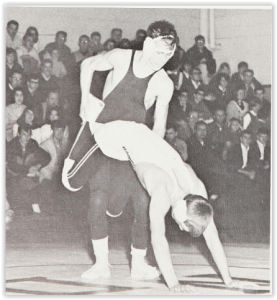 Bob Scheetz Battles AL Nicusanti (Photo Courtesy of Notre Dame Yearbook)
