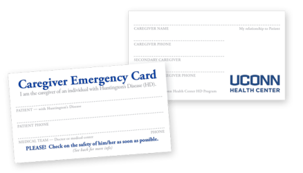 Huntington's Disease Caregiver ID card, UConn